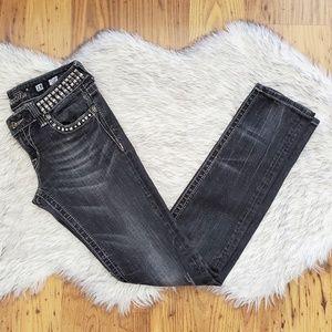 Miss Me Dark Grey Studded Bling Skinny Jeans 28x32